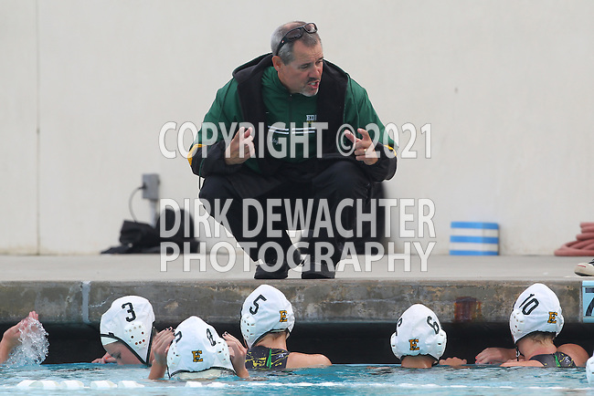 Manhattan Beach, CA 02/16/11 - Edison's coach instructs his players during a time out in the fourth period of play against Mira Costa.