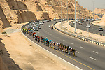 The peloton lined out during Stage 6 of the 10th Tour of Oman 2019, running 135.5km from Al Mouj Muscat to Matrah Corniche, Oman. 21st February 2019.<br /> Picture: ASO/K&aring;re Dehlie Thorstad | Cyclefile<br /> All photos usage must carry mandatory copyright credit (&copy; Cyclefile | ASO/K&aring;re Dehlie Thorstad)