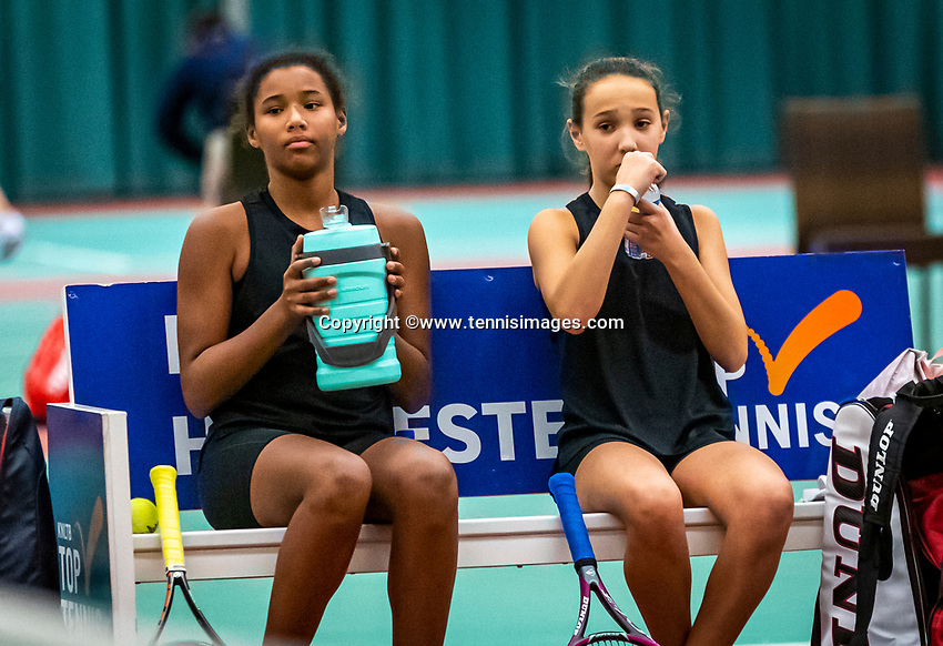 Wateringen, The Netherlands, December 15,  2019, De Rhijenhof , NOJK juniors doubles, Final girls 12 years, Silver Bijlsma (NED) Megan Caffin (NED) (R)<br /> Photo: www.tennisimages.com/Henk Koster