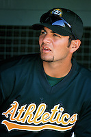 Eric Chavez of the Oakland Athletics during a Spring Training game at Phoenix Municipal Stadium circa 1999 in Phoenix, Arizona. (Larry Goren/Four Seam Images)
