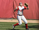 MADISON, WI - APRIL 16: Right fielder Katie Hnatyk #9 of the Wisconsin Badgers softball team fields a fly ball against the Indiana Hoosiers at Goodman Diamond on April 16, 2007 in Madison, Wisconsin. (Photo by David Stluka)