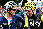 Yellow Jersey Chris Froome (GBR) Team Sky and White Jersey Simon Yates (GBR) Orica-Scott chat before Stage 12 of the 104th edition of the Tour de France 2017, running 214.5km from Pau to Peyragudes, France. 13th July 2017.<br /> Picture: ASO/Alex Broadway | Cyclefile<br /> <br /> <br /> All photos usage must carry mandatory copyright credit (&copy; Cyclefile | ASO/Alex Broadway)