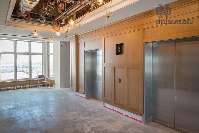 March 8, 2017; Corbett Family Hall 8th floor under construction (Photo by Matt Cashore/University of Notre Dame)