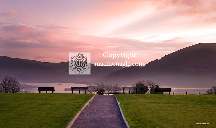 The path to serenity&hellip;An November evening shot at Aghadoe Killarney overlooking Lough Lein showing a newly constructed path and park benches giving magnigicience to the view.<br /> Pic ture by Don MacMonagle
