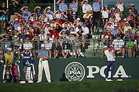 Rickie Fowler nails his tee shot during the opening round of the US PGA Championship at Valhalla (Photo: Anthony Powter) Picture: Anthony Powter / www.golffile.ie