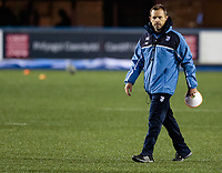 Cardiff Blues' Head Coach Danny Wilson during the pre match warm up<br /> <br /> Photographer Simon King/CameraSport<br /> <br /> Guinness Pro14 Round 6 - Cardiff Blues v Dragons - Friday 6th October 2017 - Cardiff Arms Park - Cardiff<br /> <br /> World Copyright &copy; 2017 CameraSport. All rights reserved. 43 Linden Ave. Countesthorpe. Leicester. England. LE8 5PG - Tel: +44 (0) 116 277 4147 - admin@camerasport.com - www.camerasport.co