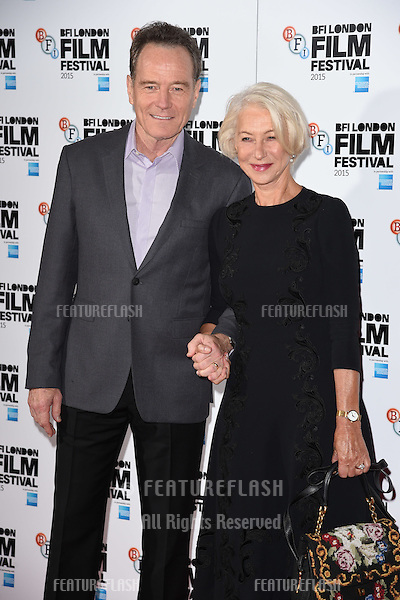 Bryan Cranston &amp; Dame Helen Mirren at the photocall for &quot;Trumbo&quot; at the Corinthia Hotel, London.<br /> October 8, 2015  London, UK<br /> Picture: Steve Vas / Featureflash