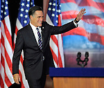 Republican presidential candidate and former Massachusetts Gov. Mitt Romney waves to supporters at an election night rally in Boston, Wednesday, Nov. 7, 2012, where he conceded the race to President Barack Obama.