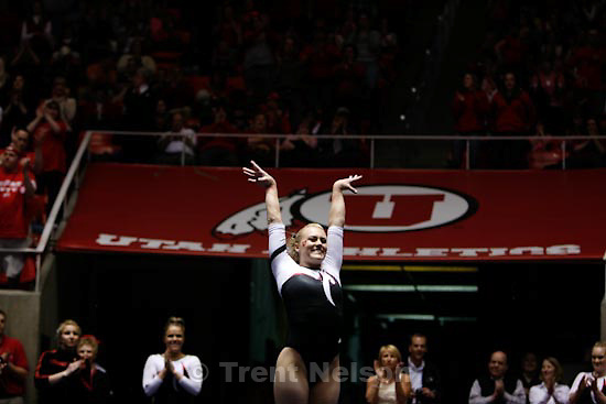 Trent Nelson  |  The Salt Lake Tribune.Salt Lake City - Utah vs. BYU college gymnastics Friday, March 26, 2010. Utah's Jamie Deetscreek, floor