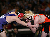 Rob Broda of Eden (VI) and Joe Smaldone of Geneva (V) square off in the NY State Division Two finals at the 112 weight class during the NY State Wrestling Championship finals at Blue Cross Arena on March 9, 2009 in Rochester, New York.  (Copyright Mike Janes Photography)