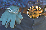 Championship buckle and roping glove on the belt of a cowboy at the Minden Buckaroo Fest and Ranch Rodeo.