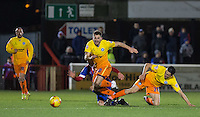 Luke O'Nien of Wycombe Wanderers appears to bring down his own player Matt Bloomfield of Wycombe Wanderers during the Sky Bet League 2 match between Dagenham and Redbridge and Wycombe Wanderers at the London Borough of Barking and Dagenham Stadium, London, England on 9 February 2016. Photo by Andy Rowland.