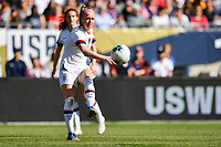 CHICAGO, IL - OCTOBER 06: Becky Sauerbrunn #4 of the United States passes a ball during their game versus Korea Republic at Soldier Field, on October 06, 2019 in Chicago, IL.
