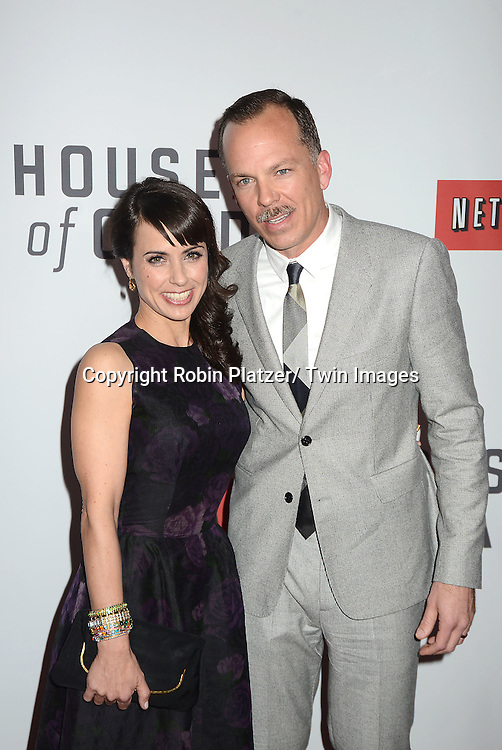 "Constance Zimmer and husband attends the Premiere of ""House of Cards"" on January 30, 2013 at Alice Tully Hall at Lincoln Center in New York City. The movie is available to watch on Netflix on February 1, 2013. The show stars Kevin Spacey, Kate Mara, Robin Wright, Michael Kelly, Corey Stoll, Kristen Connoly, Sakina Jaffrey, Constance Zimmer and  Sandrine Holt."