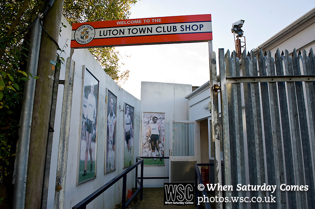 Luton Town 6 Kidderminster Harriers 0, 28/12/2013. Kenilworth Road, Football Conference. Luton Town's Club shop entrance with pictures of some of their most famous players from the 80's. Luton hope that this will be their year to return to the Football League.  Photo by Simon Gill.