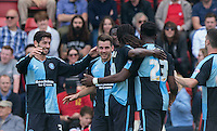 Celebrations as Matt Bloomfield of Wycombe Wanderers is credited with scoring to make it 1-0 during the Sky Bet League 2 match between Leyton Orient and Wycombe Wanderers at the Matchroom Stadium, London, England on 19 September 2015. Photo by Andy Rowland.