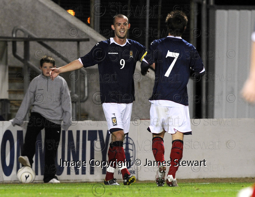 04/09/2008  Copyright Pic: James Stewart.File Name : sct_jspa12_scotland_v_slovenia.STEVEN FLETCHER CELEBRATES AFTER HE SCORES SCOTLAND'S THIRD.James Stewart Photo Agency 19 Carronlea Drive, Falkirk. FK2 8DN      Vat Reg No. 607 6932 25.James Stewart Photo Agency 19 Carronlea Drive, Falkirk. FK2 8DN      Vat Reg No. 607 6932 25.Studio      : +44 (0)1324 611191 .Mobile      : +44 (0)7721 416997.E-mail  :  jim@jspa.co.uk.If you require further information then contact Jim Stewart on any of the numbers above........