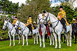 Day 2. Royal Windsor Horse Show. Windsor. Berkshire. UK.  The Mounted Band of the Household Cavalry. Behind the scenes. 10/05/2018. ~ MANDATORY Credit Elli Birch/Sportinpictures - NO UNAUTHORISED USE - 07837 394578