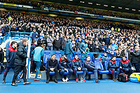 Swansea manager Carlos Carvalhal and colleagues sit on the away bench during The Emirates FA Cup Fifth Round match between Sheffield Wednesday and Swansea City at Hillsborough, Sheffield, England, UK. Saturday 17 February 2018
