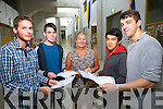 Leaving Cert students from CBS the Green, Tralee Grzegorz Brycki, Gavin Breen, Principal Ann O'Callaghan, Marscell Fazilov and Maxim Goreansky who collected their results on Wednesday.