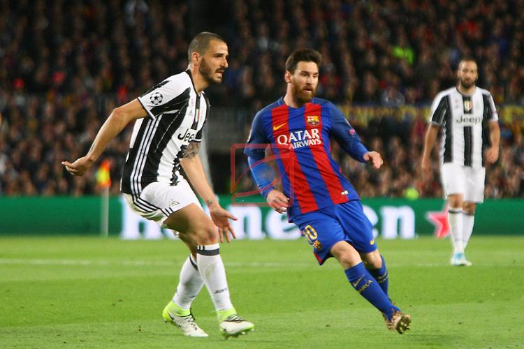 UEFA Champions League 2016/2017.<br /> Quarter-finals 2nd leg.<br /> FC Barcelona vs Juventus Football Club: 0-0.<br /> Leonardo Bonucci vs Lionel Messi.
