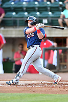 Elizabethton Twins Albee Weiss (41) swings at a pitch during a game against the Greenville Reds at Pioneer Park on June 29, 2019 in Greeneville, Tennessee. The Twins defeated the Reds 8-1. (Tony Farlow/Four Seam Images)