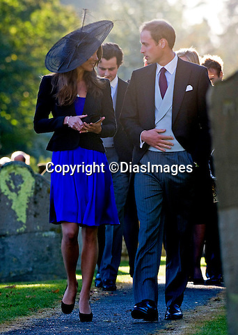 "PRINCE WILLIAM & KATE MIDDLETON.attend the wedding of friends Harry Meade and Rosie Bradford at the Church of St Peter & St Paul, Northleach_Gloucestershire_23/10/2010.Mandatory Photo Credit: ©Dias/DIASIMAGES..**ALL FEES PAYABLE TO: ""NEWSPIX INTERNATIONAL""**..PHOTO CREDIT MANDATORY!!: DIASIMAGES(Failure to credit will incur a surcharge of 100% of reproduction fees)..IMMEDIATE CONFIRMATION OF USAGE REQUIRED:.DiasImages, 31a Chinnery Hill, Bishop's Stortford, ENGLAND CM23 3PS.Tel:+441279 324672  ; Fax: +441279656877.Mobile:  0777568 1153.e-mail: info@diasimages.com"