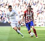 Real Madrid´s James Rodriguez and Atletico de Madrid´s Filipe Luis during 2015/16 La Liga match between Real Madrid and Atletico de Madrid at Santiago Bernabeu stadium in Madrid, Spain. February 27, 2016. (ALTERPHOTOS/Javier Comos)