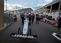 Jul. 19, 2013; Morrison, CO, USA: NHRA crew members for top fuel dragster driver Brandon Bernstein during qualifying for the Mile High Nationals at Bandimere Speedway. Mandatory Credit: Mark J. Rebilas-