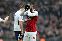 Alexandre Lacazette of Arsenal after missing a golden chance during Tottenham Hotspur vs Arsenal, Premier League Football at Wembley Stadium on 10th February 2018