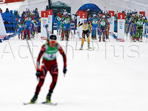 15.01.2012 Nove Mesto, Czech Republic.  Biathlon IBU World Cup 10km race for women Picture shows Tora Berger NOR and Magdalena Nine ger
