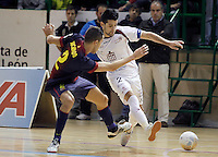 Caja Segovia's David Ruiz (r) and FC Barcelona Alusport's Aicardo during Spanish National Futsal League match.November 24,2012. (ALTERPHOTOS/Acero) /NortePhoto