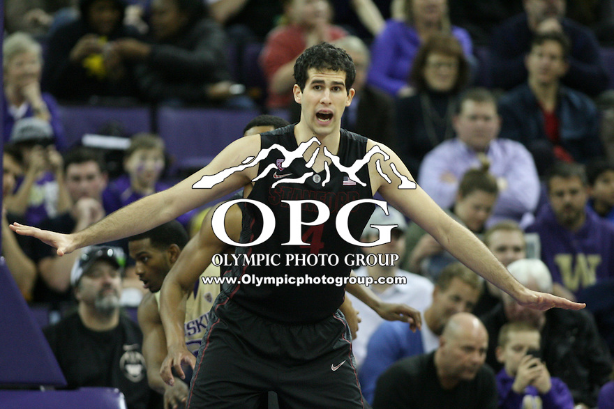 February 12, 2014:   Stanford's Stefan Nastic against Washington.  Washington defeated Stanford 64-60 at Alaska Airlines Arena in Seattle, Washington.