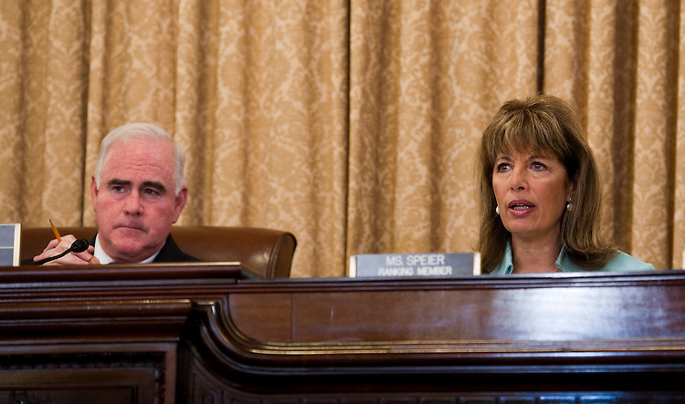"WASHINGTON, DC - June 01: Chairman Patrick Meehan, R-Pa., and ranking member Jackie Speier, D-Calif., during the House Homeland Security Subcommittee on Counterterrorism and Intelligence hearing on the ""Department of Homeland Security Intelligence Enterprise - Past, Present, and Future."" (Photo by Scott J. Ferrell/Congressional Quarterly)"