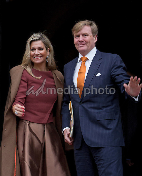 07 January 2016 - King Willem-Alexander and Queen Maxima received the members of the European Commision at the Royal Palace of Amsterdam. Photo Credit: Price/face to face/AdMedia