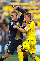 24 OCTOBER 2010:  Philadelphia Union forward Alejandro Moreno (15) is defended by Columbus Crew midfielder Brian Carroll (16) during MLS soccer game at Crew Stadium in Columbus, Ohio on August 28, 2010.