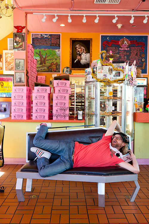 """Voodoo Doughnut, Too! located in NE Portland, Oregon features unusual doughnuts and is owned by Tres Shannon and Kenneth """"Cat Daddy"""" Pogson."""