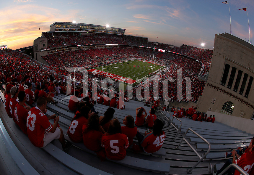 during Saturday's NCAA Division I football game at Ohio Stadium in Columbus on September 28, 2013. (Barbara J. Perenic/Columbus Dispatch)
