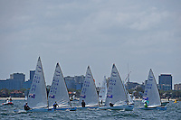 Finn / starting action / fleet racing<br /> ISAF Sailing World Cup Final - Melbourne<br /> St Kilda sailing precinct, Victoria<br /> Port Phillip Bay Tuesday 6 Dec 2016<br /> &copy; Sport the library / Jeff Crow