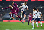 David Silva of Manchester City is challenged by Jan Vertonghen of Tottenham Hotspur during the premier league match at the Wembley Stadium, London. Picture date 14th April 2018. Picture credit should read: Robin Parker/Sportimage