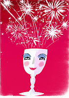 Fireworks exploding from wine glass with smiling face