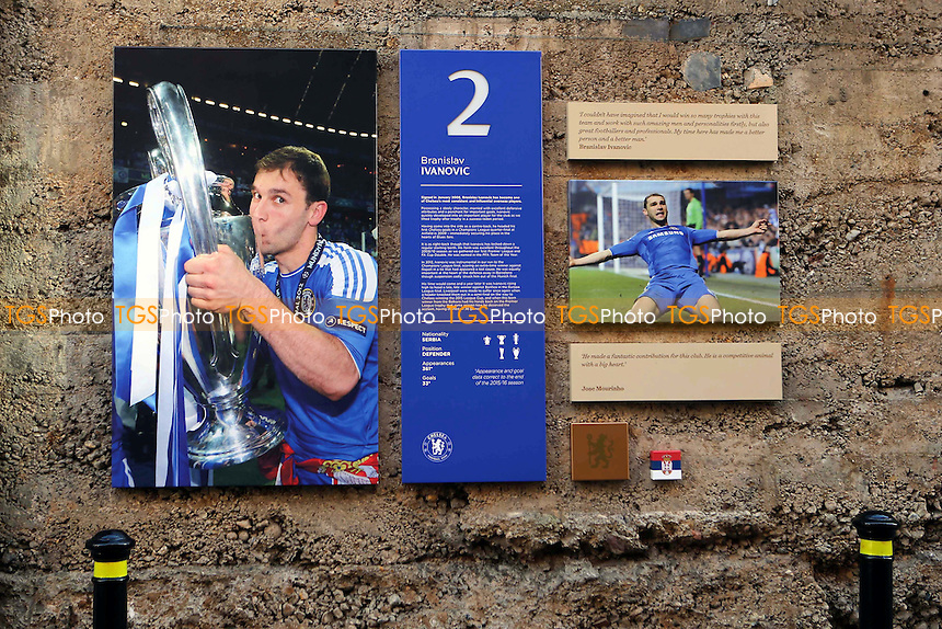 A tribute to Branislav Ivanovic on the walls on the old shed that surrounds the outskirts of the ground during Chelsea vs Hull City, Premier League Football at Stamford Bridge on 22nd January 2017