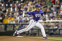 TCU Horned Frogs pitcher Preston Guillory (20) delivers a pitch to the plate against the LSU Tigers in Game 10 of the NCAA College World Series on June 18, 2015 at TD Ameritrade Park in Omaha, Nebraska. TCU defeated the Tigers 8-4, eliminating LSU from the tournament. (Andrew Woolley/Four Seam Images)