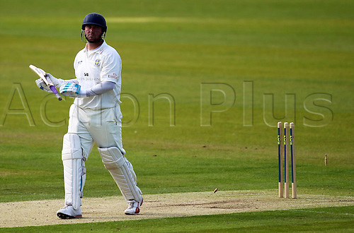 31.08.2010 Durham's Ian Blackwell bowled out on day 1 of the the LV County Championship Division One Durham v Nottinghamshire from the Emirates Durham ICG