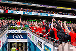 Glenbeigh Glencar captain Colin McGillicuddy lifts the cup after his teams victory over Rock Saint Patricks in the Junior Football All Ireland Final in Croke Park on Sunday.