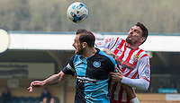 Paul Hayes of Wycombe Wanderers & Ronnie Henry of Stevenage go up for the ball during the Sky Bet League 2 match between Wycombe Wanderers and Stevenage at Adams Park, High Wycombe, England on 12 March 2016. Photo by Andy Rowland/PRiME Media Images.