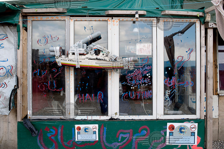 A restaurant and shop closed by the local authorities at the so-called 'Jungle' refugee camp.