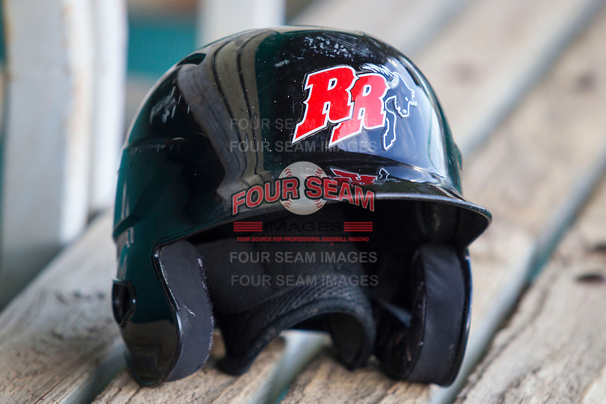 Frisco Roughriders helmet on August 22, 2013 at the Nelson Wolff Stadium in San Antonio, Texas. Frisco defeated San Antonio 2-1. (Andrew Woolley/Four Seam Images)