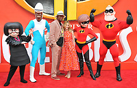 Samuel L. Jackson and Holly Hunter with the film characters at the &quot;Incredibles 2&quot; UK film premiere, BFI Southbank, Belvedere Road, London, England, UK, on Sunday 08 July 2018.<br /> CAP/CAN<br /> &copy;CAN/Capital Pictures