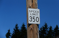 Aug. 3, 2014; Kent, WA, USA; NHRA speed limit sign during the Northwest Nationals at Pacific Raceways. Mandatory Credit: Mark J. Rebilas-